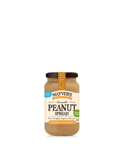 Peanut Spread Smooth 375g Mayvers Organic
